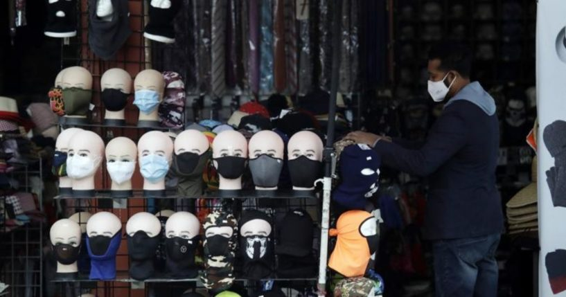 A retail display in Los Angeles carrying an assortment of masks for sale is seen in this photo taken on March 20, 2020.