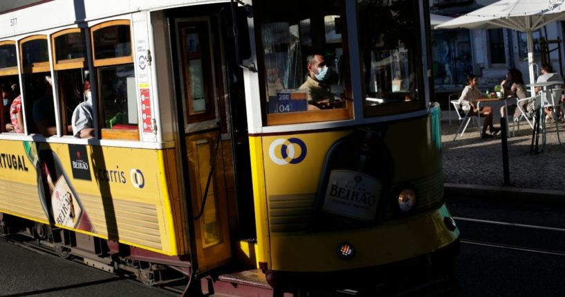 A tram is seen in this Monday photo driving through the Graca neighborhood in the Portuguese city of Lisbon.