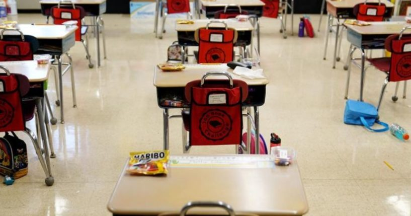 Desks are arranged in a classroom at an elementary school in Nesquehoning, Pennsylvania, on March 11.