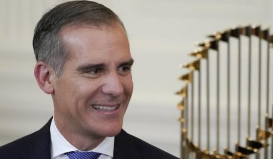 Los Angeles Mayor Eric Garcetti arrives for an event to honor the 2020 World Series champion Los Angeles Dodgers baseball team at the White House on Friday in Washington, D.C.