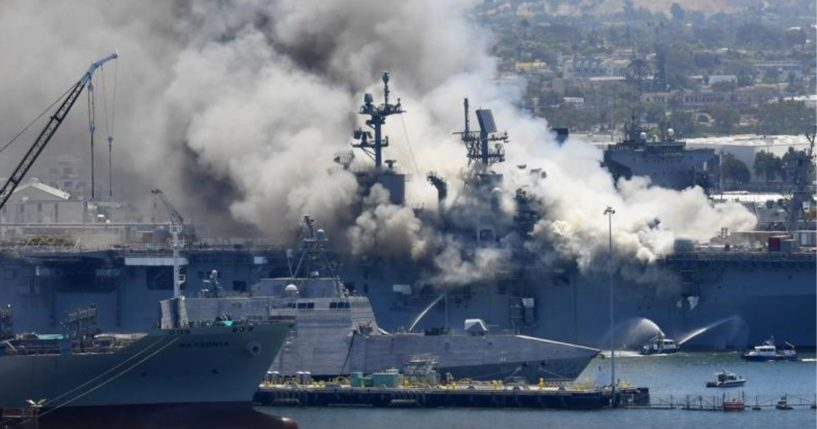 Smoke rises from the USS Bonhomme Richard in San Diego on July 12, 2020.