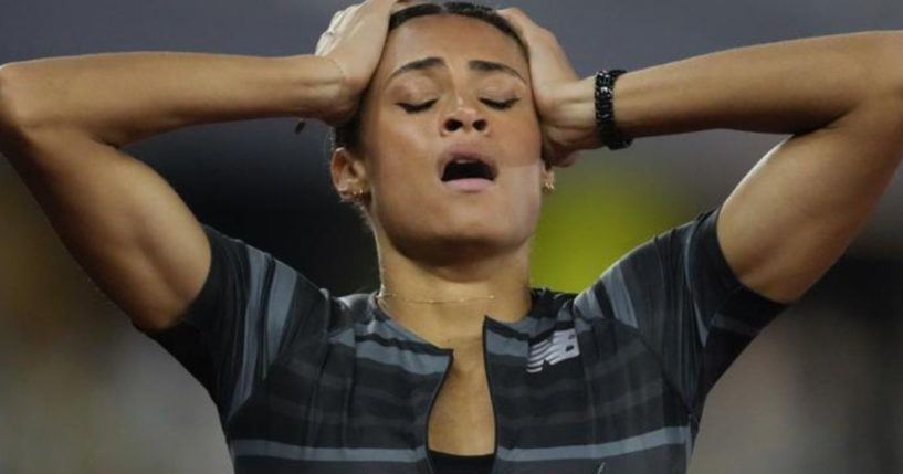 Sydney McLaughlin reacts after setting the world record in the finals of the women's 400-meter hurdles at the U.S. Olympic Track and Field Trials in Eugene, Oregon, on June 27.