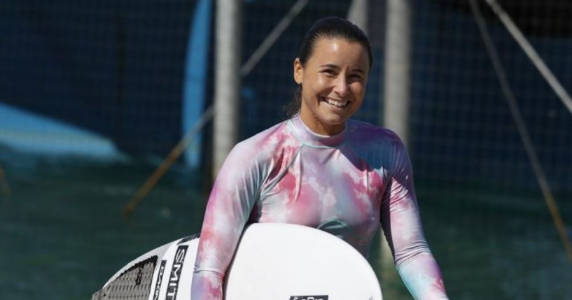 Surfer Johanne Defay of France leaves the water after a workout during practice rounds for the upcoming Olympics at Surf Ranch in Lemoore, California, on June 15.