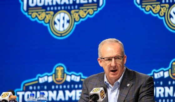 Greg Sankey, the Commissioner of the SEC addresses the media following the announcement of the cancellation of the SEC Basketball Tournament at Bridgestone Arena on March 12, 2020, in Nashville. The tournament has been cancelled due to the growing concern about the spread of the Coronavirus.