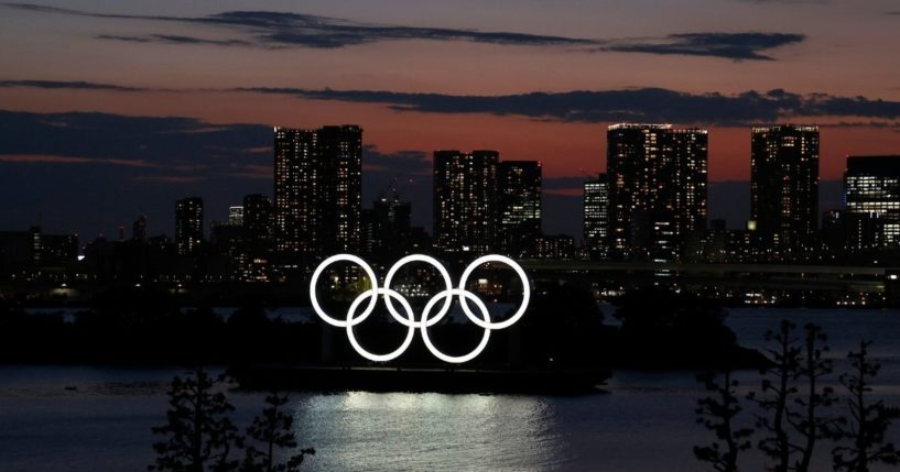 The Olympic Rings are displayed by the Odaiba Marine Park Olympic venue ahead of the Tokyo 2020 Olympic Games on Monday in Tokyo.