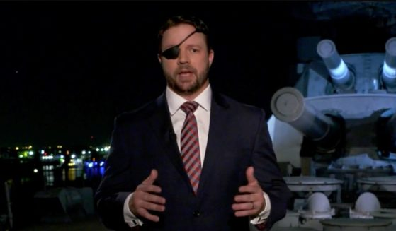 In this screenshot from the RNC's livestream of the 2020 Republican National Convention, U.S. Rep. Dan Crenshaw addresses the virtual convention on Aug. 26, 2020.