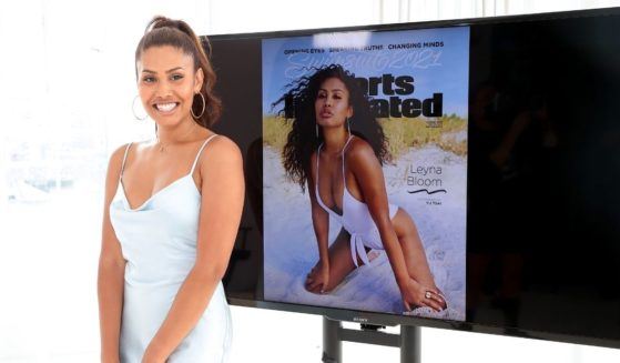 In this image released on Monday, Leyna Bloom poses during the 2021 Sports Illustrated Swimsuit Cover Reveal at Jack Studios last week in New York City.