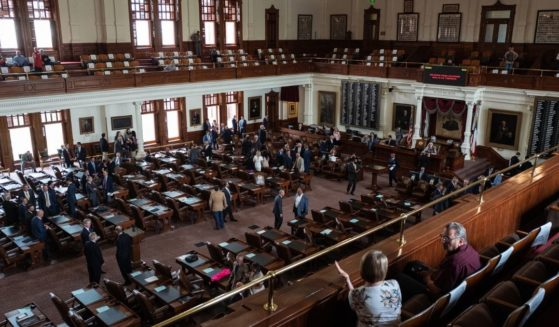 Texas state representatives and visitors are gathered in the House chamber on the first day of the 87th Legislature's special session at the State Capitol on July 8, in Austin, Texas.