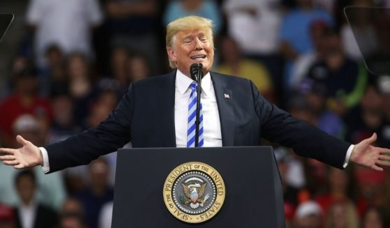 Then-President Donald Trump speaks a rally at the Charleston Civic Center on Aug. 21, 2018, in Charleston, West Virginia.