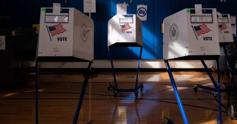 Voting booths at Public School 160 on Nov. 3, 2020, in the Brooklyn borough of New York City. After a record-breaking early voting turnout, Americans head to the polls on the last day to cast their vote for incumbent U.S. President Donald Trump or Democratic nominee Joe Biden in the 2020 presidential election.