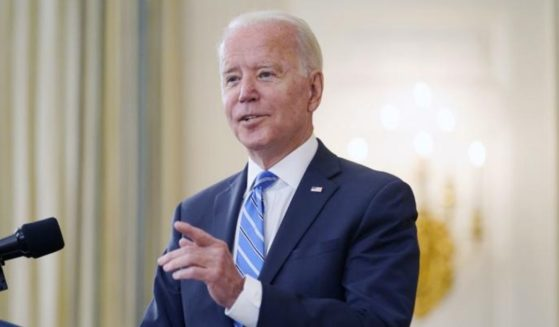 President Joe Biden speaks about the economy and his infrastructure agenda in the State Dining Room of the White House in Washington, D.C., on Monday.