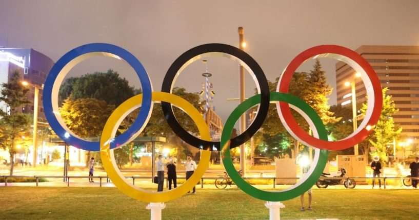 The Olympic rings are seen at Odori Park in Sapporo Hokkaido, Japan, on Tuesday ahead of the Tokyo Summer Games.