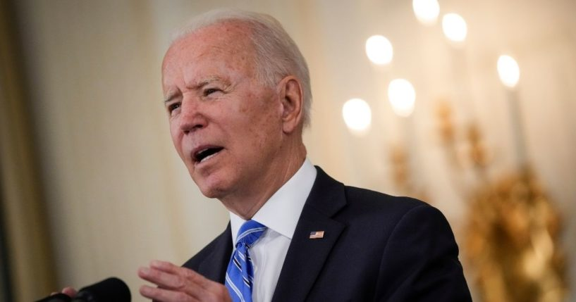 President Joe Biden speaks in the State Dining Room of the White House in Washington on Monday.