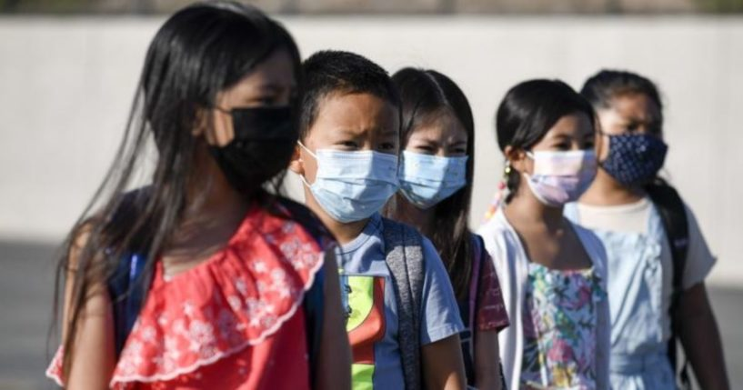 Students at Enrique S. Camarena Elementary School in California are depicted wearing masks in this photo taken on Wednesday.