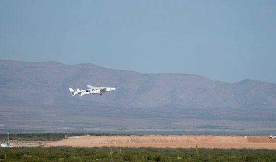 Virgin Galactic's VMS Eve carries the VSS Unity on takeoff from Spaceport America on Sunday in Truth Or Consequences, New Mexico. Aboard VSS unity are pilots Dave Mackay and Michael Masucci, and mission specialists Sirisha Bandla, British billionaire and founder of Virgin Galactic Sir Richard Branson, Colin Bennett, and Beth Moses. The VSS Unity is scheduled to travel to an altitude of over 50 miles above the Earth.