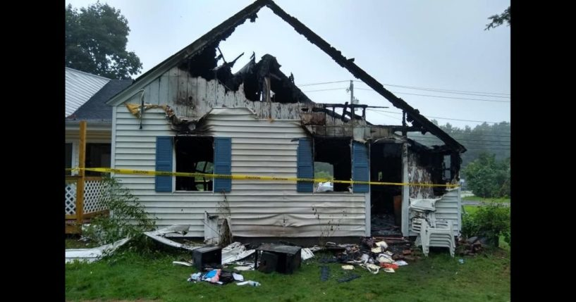 The garage that caught fire when a Massachusetts home was likely struck by lightning.