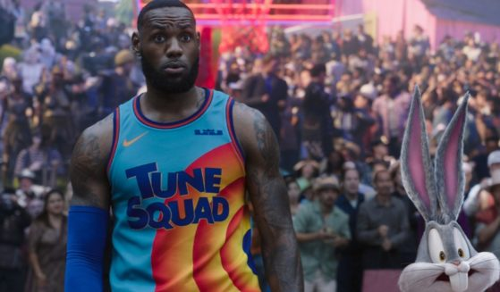 """NBA star LeBron James in a still from the new movie """"Space Jam: A New Legacy."""""""