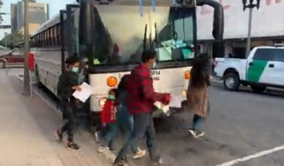 A busload of illegal immigrants being dropped off in McAllen, Texas.
