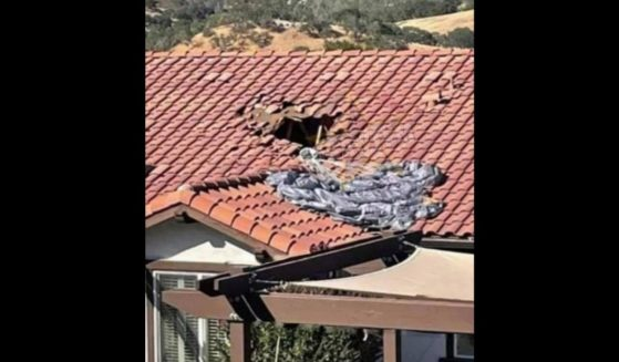 The roof of the home in California that the British paratrooper fell through.