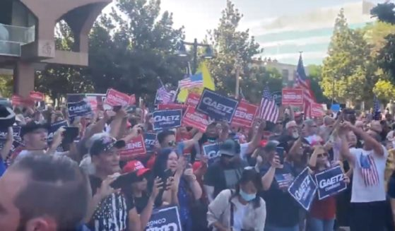 A rally outside Riverside City Hall in Riverside, California, on Saturday.