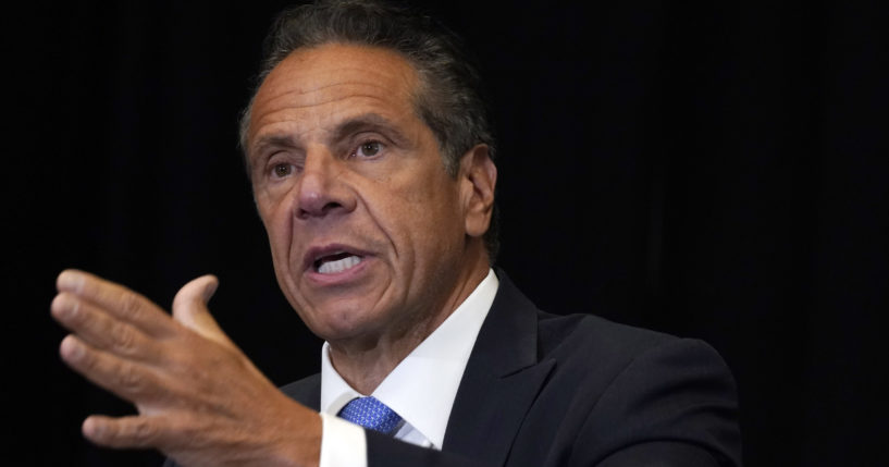 New York Gov. Andrew Cuomo speaks during a news conference at New York's Yankee Stadium on July 26, 2021.