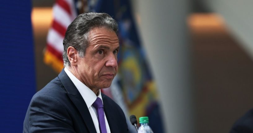 Democratic New York Gov. Andrew Cuomo takes questions from reporters during a news conference at the Javits Center in Manhattan on May 11, 2021, in New York City.