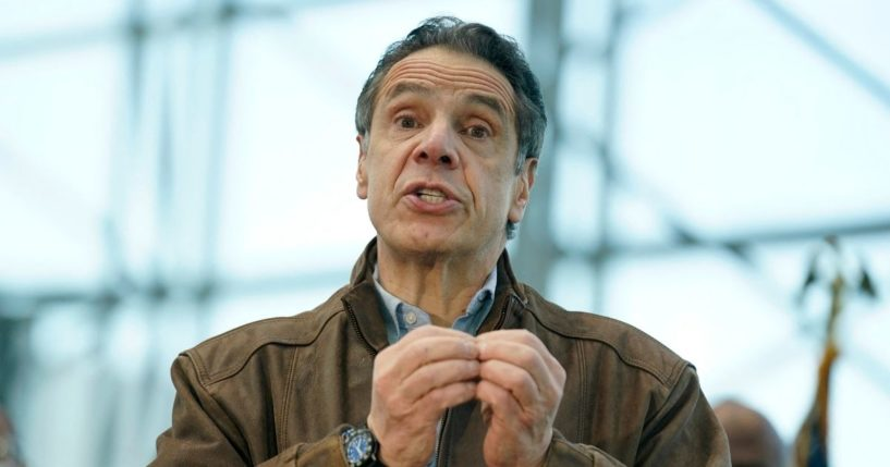 New York Gov. Andrew Cuomo speaks to people at a vaccination site on March 8, 2021, in New York City.
