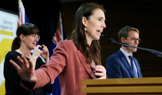New Zealand Prime Minister Jacinda Ardern speaks during a news conference about COVID-19 restrictions at Parliament in Wellington on Tuesday.