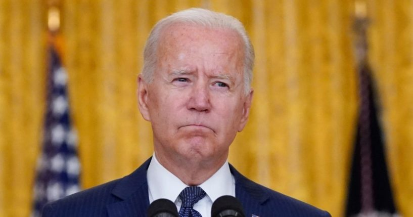 President Joe Biden gives a speech from the East Room of the White House on Thursday.