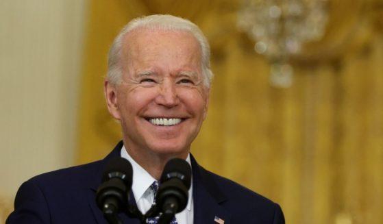 President Joe Biden speaks in the East Room of the White House on Tuesday in Washington, D.C.