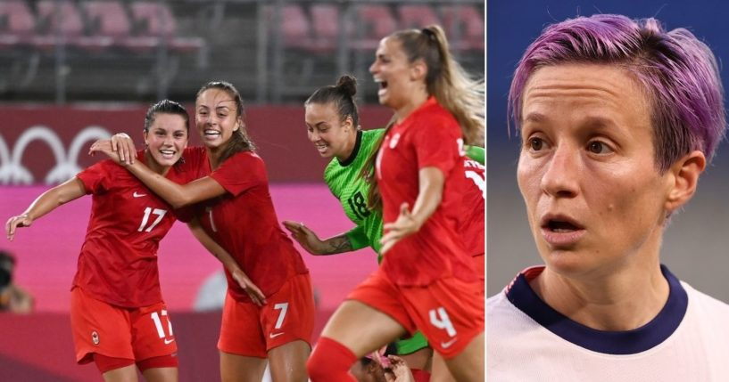 Canada's players celebrate, left, after beating Megan Rapinoe, right, and the U.S. in their women's soccer semifinal match in the Tokyo Olympics at Ibaraki Kashima Stadium in Kashima on Monday.