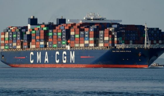 The CMA CGM Marco Polo, an ultra-large container vessel with a maximum capacity of 16,022 twenty-foot equivalent units, passes on May 20, 2021, in New York, on its way to the Elizabeth-Port Authority Marine Terminal (EPAMT) as the largest container ship ever to call at any US East Coast port.