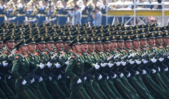 Chinese troops march during a military parade in Tiananmen Square in Beijing on Oct. 1, 2019, to mark the 70th anniversary of the founding of the People's Republic of China.