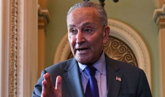 Senate Majority Leader Chuck Schumer talks to reporters about the proposed infrastructure package at the Capitol in Washington on Wednesday.