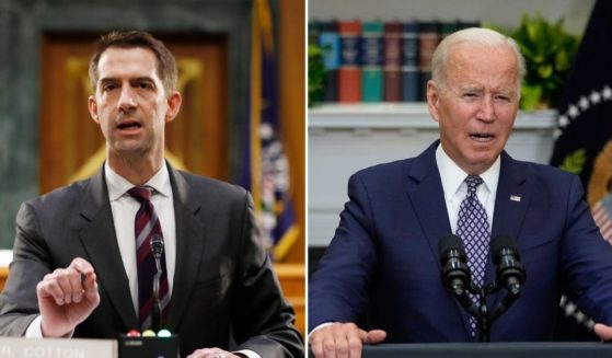Republican Sen. Tom Cotton of Arkansas, left, shared his belief Wednesday that President Joe Biden will blame Americans for not getting out of Afghanistan in time.