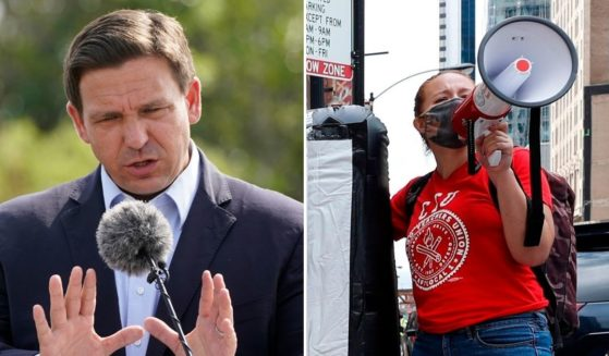 Republican Florida Gov. Ron DeSantis, left, and the Florida Department of Education approved an emergency rule Friday to distribute vouchers to parents who don't want to enroll their children in schools enforcing mask mandates.