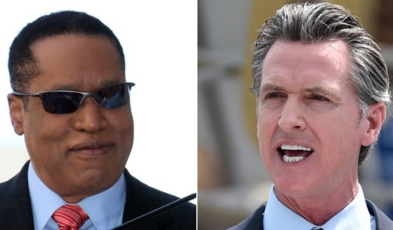 Conservative commentator Larry Elder, left, is running to replace Democratic Gov. Gavin Newsom, right, in California's recall election.