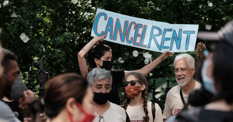 Activists hold a protest against evictions near City Hall on Wednesday in New York City.
