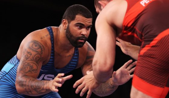 Gable Steveson of the United States competes against Geno Petriashvili of Georgia during the men's freestyle wrestling 125-kilogram gold medal match at the Tokyo Olympic Games on Friday in Chiba, Japan.