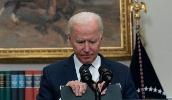 President Joe Biden delivers remarks in the Roosevelt Room of the White House in Washington, D.C., on Sunday.
