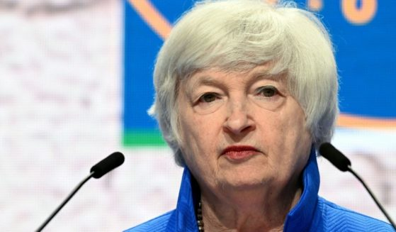 Treasury Secretary Janet Yellen looks on during a news conference at the G-20 finance ministers and central bankers meeting in Venice on July 11, 2021.