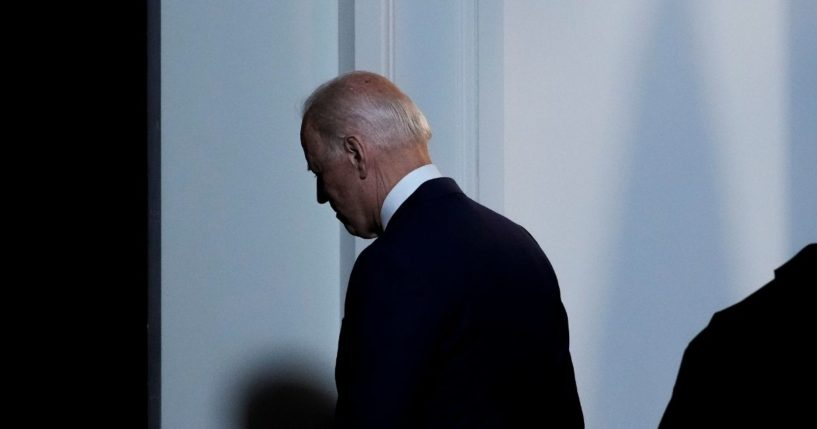 President Joe Biden departs after speaking in the South Court Auditorium at the White House complex on Monday in Washington, D.C.