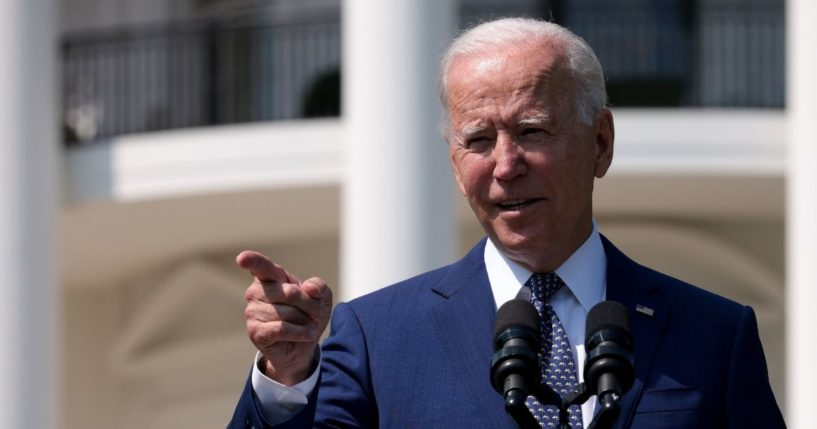President Joe Biden delivers remarks during an event on the South Lawn of the White House on Thursday in Washington, D.C.