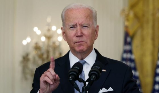 President Joe Biden delivers remarks on the worsening crisis in Afghanistan from the East Room of the White House on Monday in Washington, D.C.