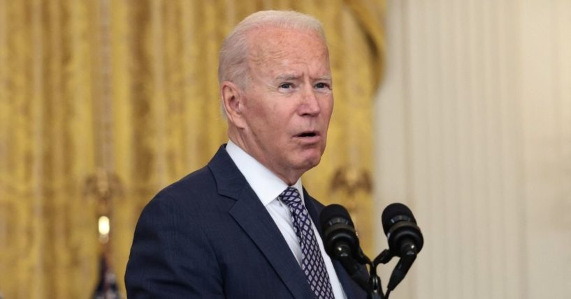 President Joe Biden gives remarks on the U.S. military's ongoing evacuation efforts in Afghanistan from the East Room of the White House on Friday.
