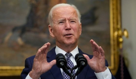 President Joe Biden speaks about the situation in Afghanistan in the Roosevelt Room of the White House on Tuesday.