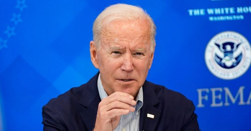 President Joe Biden speaks on the preparations being made by FEMA for Hurricane Ida in the Eisenhower Executive Office Building on Saturday in Washington, D.C.