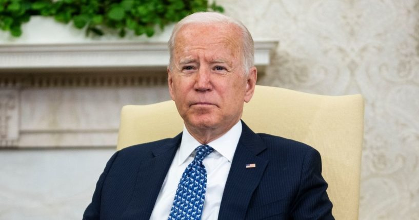 President Joe Biden listens to Ukrainian President Volodymyr Zelensky during a media availability in the Oval Office at the White House on Wednesday.