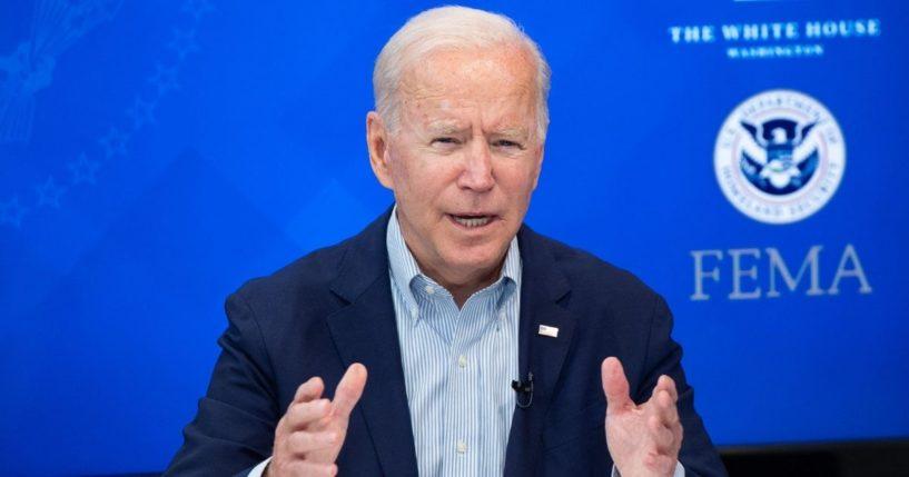 President Joe Biden speaks during a virtual briefing on Saturday.