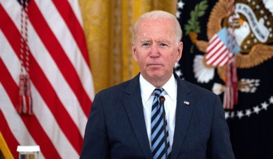 President Joe Biden attends a meeting in the East Room of the White House in Washington, D.C., on Wednesday.